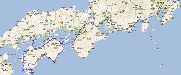 四国旅行行ったとこ地図