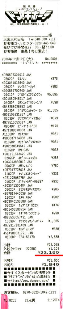 最大でも5695円、てかレシート長っ!