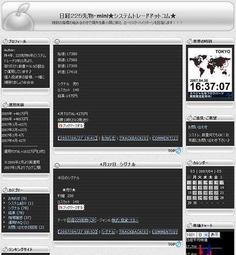 日経225先物・mini★システムトレードドットコム★
