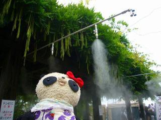 暑さ対策の霧噴射