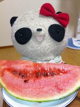 ばぶちゃんスイカを食べる