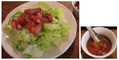 ウィンナーとトマトのドレッシングのサラダ!2007.9.14