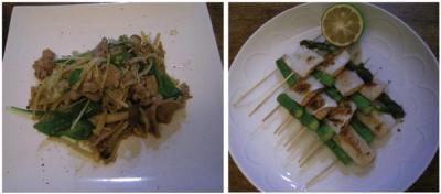 野菜たっぷり八宝菜!アスパラと鮭の塩焼き!2007.9.27