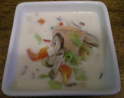 鮭と野菜のミルクスープ、和風だし。2007.10.18