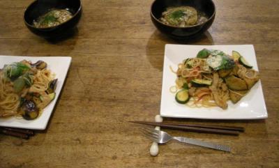 山芋のお好み焼き&あんかけ、野菜たくさんパスタ!2007.11.17