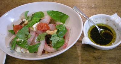カンパチとフレッシュトマト、しいたけ、カマンベールのサラダ 2007.11.18