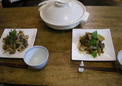 土鍋 + 炒め物 今夜も満腹!2007.11.22