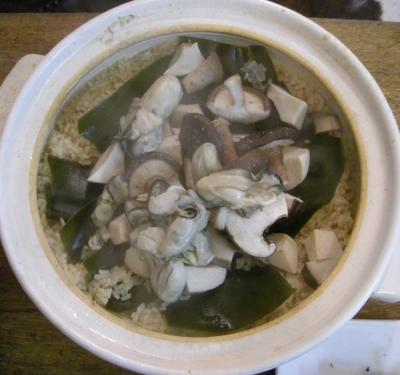 土鍋!牡蠣ときのこの炊き込みご飯!2007.11.22