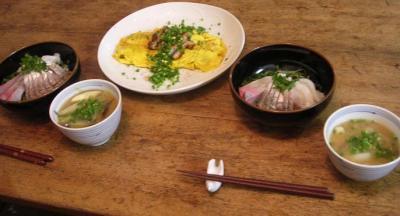 海鮮丼 & キャベツと茄子のお味噌汁。 2007.7.22