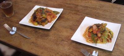 茄子と粗挽きソーセージのスパゲッティ・アラビアータ 2007.7.23