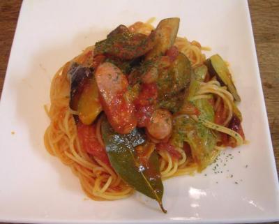 茄子と粗挽きソーセージのスパゲッティ・アラビアータUP 2007.7.23