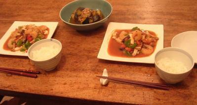 なす祭り!魚介のXOジャン炒めと茄子とカボチャの煮物!2007.8.5