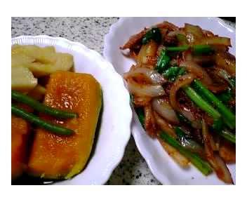 かぼちゃの煮物&豚肉の韓国風炒め