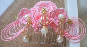 和装髪飾り松結びサーモンピンク