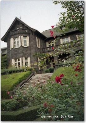 洋館と薔薇