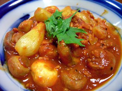 らっきょうレシピ(10) | 生らっきょうのトマトカレー風煮の作り方
