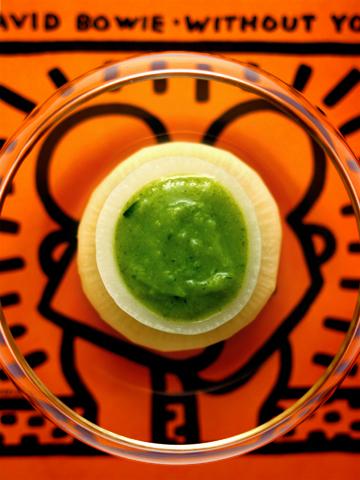 ふろふき大根の緑ポタージュ・ソース添え