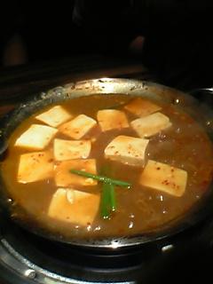 鉄板鍋料理豆腐