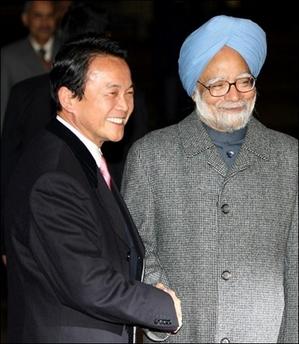 外交タロー:20061213インド・シン首相の出迎え
