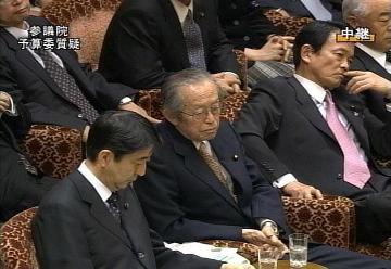 国会タロー:20070305参院予算委員会09「考えごと?」