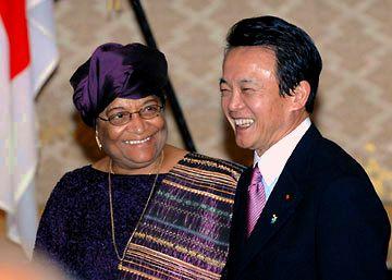 外交タロー:20070313リベリア大統領歓迎レセプションにて
