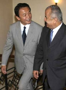外交タロー:20070813ヨルダンのハティーブ外相とふたりで