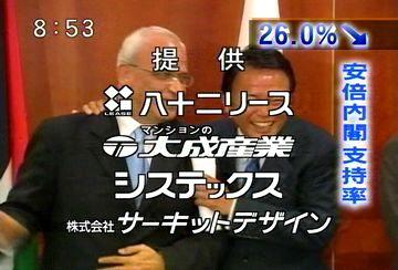 メディアでタロー:20070819永田町ベストショット「4者会合・パレスチナのアッバス議長と」1