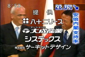 メディアでタロー:20070819永田町ベストショット「4者会合・パレスチナのアッバス議長と」2