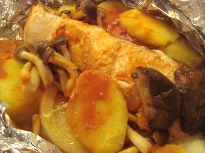秋鮭と野菜のバターコチュジャン焼