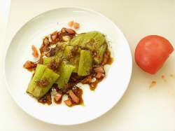 蒸しなすサラダ、茄子皮金平24
