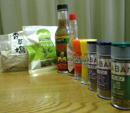 各種香辛料と調味料