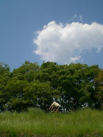 多摩川の土手と空