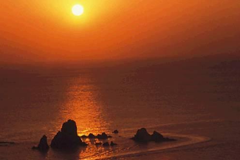 天草灘の夕焼け