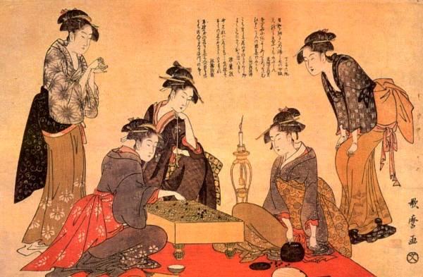 江戸時代の囲碁風景(歌麿作)