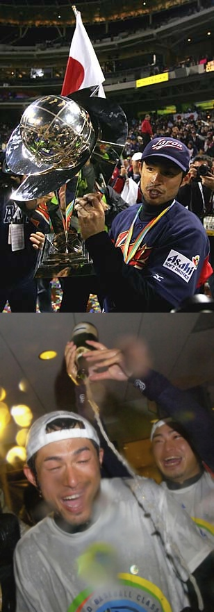 優勝トロフィーを掲げるイチロー&シャンパンファイト