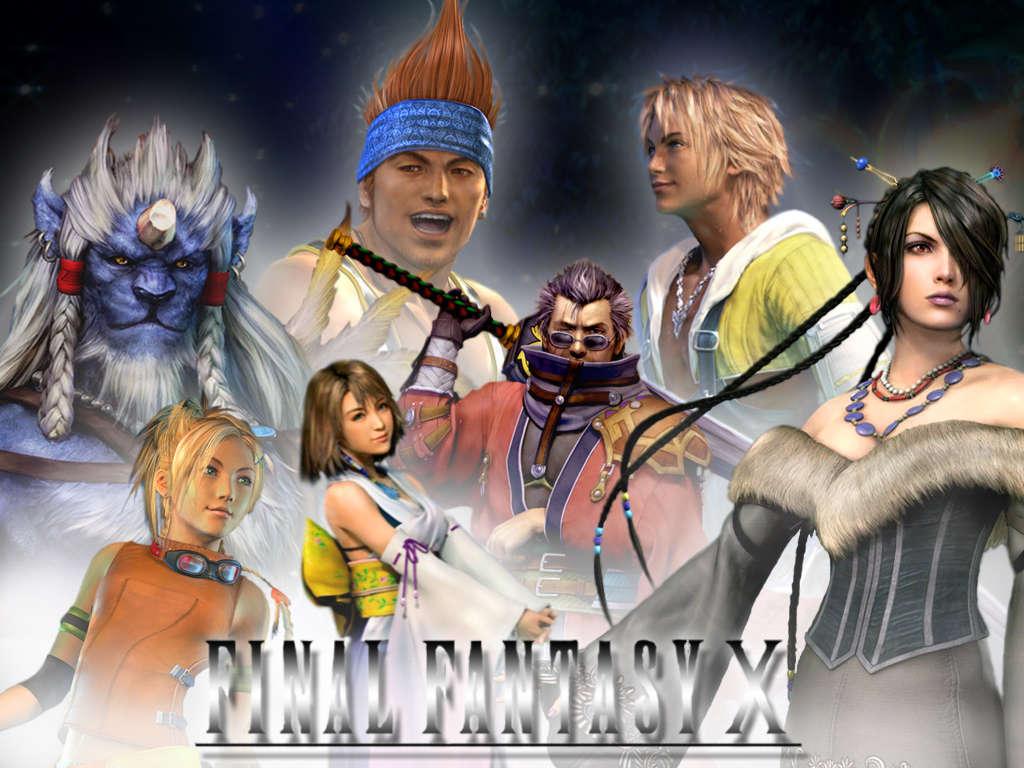 FFXメインキャラ達/前列左からリュック、ユウナ、アーロン、ルールー/後列 キマリ、ワッツ、ティーダ