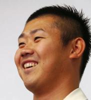 笑顔を見せる西武ライオンズ・松坂大輔投手