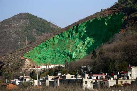 緑に塗られた山