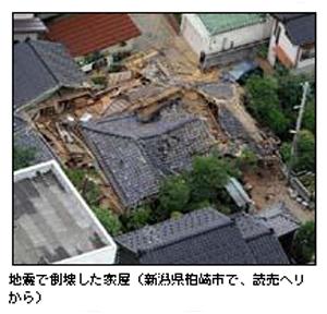 地震で倒壊した家屋(新潟県柏崎市で、読売ヘリから)(C)読売新聞