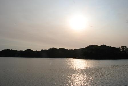 デッキから見た夕日