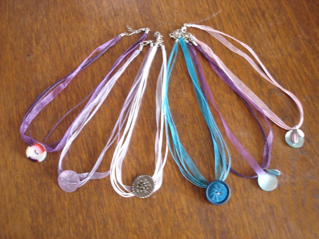 chokers with buttons or beads