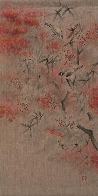 メジロとトキワカンザシ タペストリー2012607