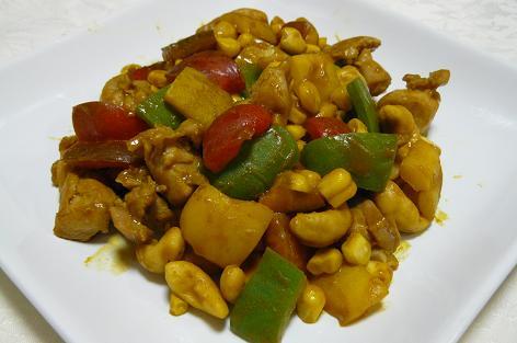 ピーマン・鶏肉・カシューナッツのカレー粉炒め