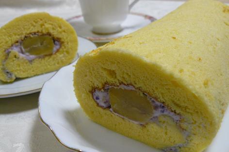 紫芋と栗のロールケーキ