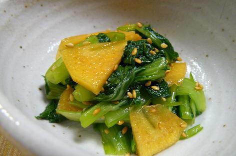 小松菜・チンゲン菜・柿の胡麻酢和え