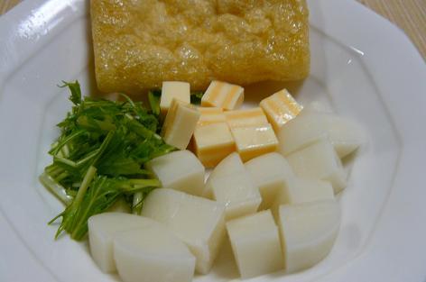 餅・チーズ・水菜