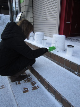 雪燈籠準備2