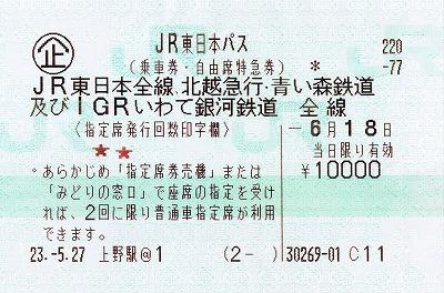 「JR東日本パス」乗車券