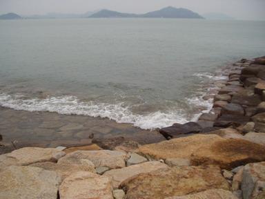 今朝の海~~波立って。