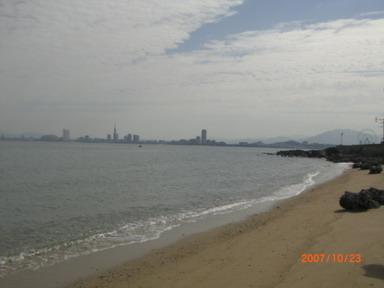 島から見る福岡市・・